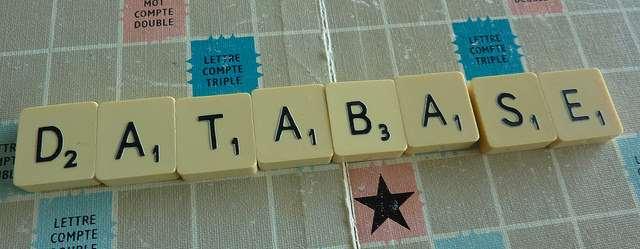 Fotografi på alfapetordet database.